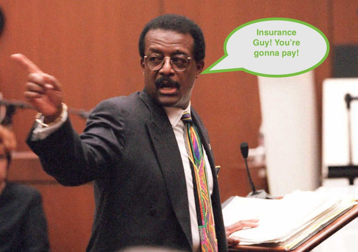Defense lawyer Johnnie Cochran Jr. points to the d